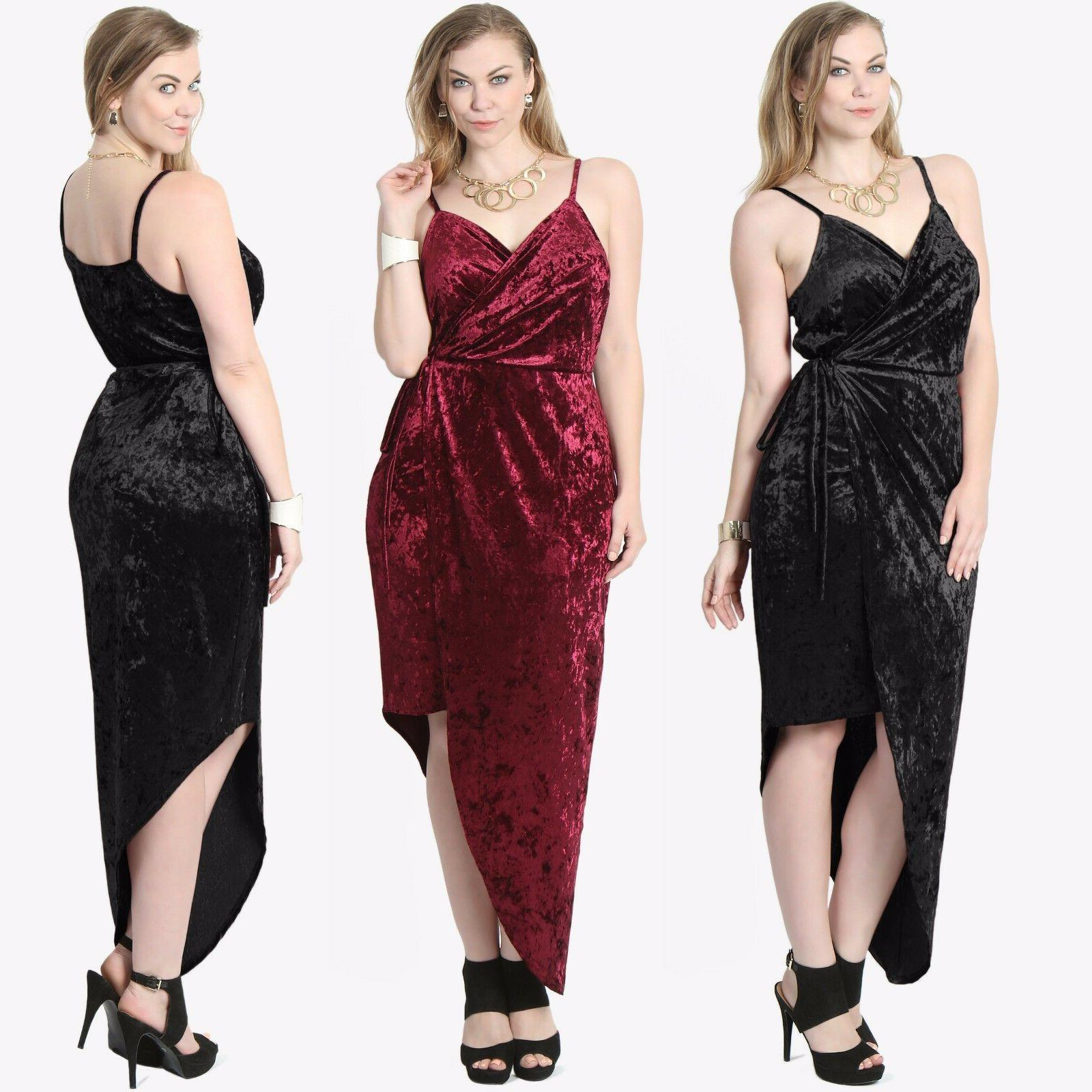 TheMogan PLUS Velvet Plunge V-Neck Strappy High Low Night Co