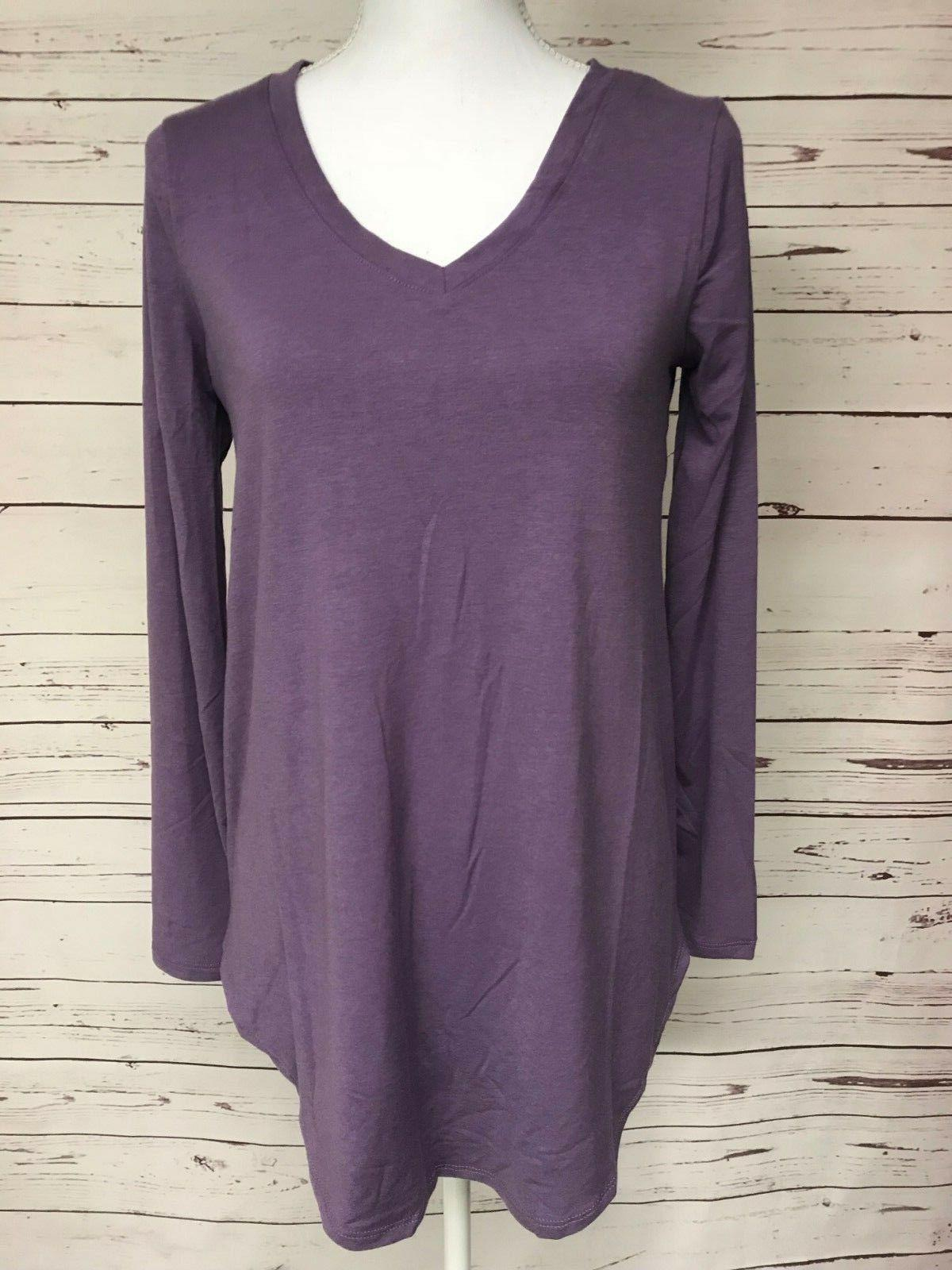 purple v neck tee knit boutique top