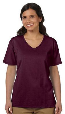 Hanes Relaxed Fit Women's 100% Cotton ComfortSoft V-neck T-S