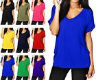 SALE Women Solid Casual Loose T-Shirt Short Sleeve V-neck Br
