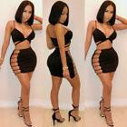 Sexy Women 2 Piece Sling V Neck Vest Bandage Hollow Out Summ