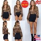 Sexy Womens Deep V Neck Tops Jumpsuit Leopard Print Long Sle