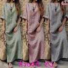Summer Women's Plus Size V Neck Cotton Linen Loose Maxi Pock