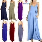 Summer Women Solid Pocket V Neck Maxi Vest Dress Long Casual