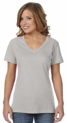 Anvil T-Shirt Top Tee Ladies' 3.2 oz. Sheer V-Neck Solid Bla