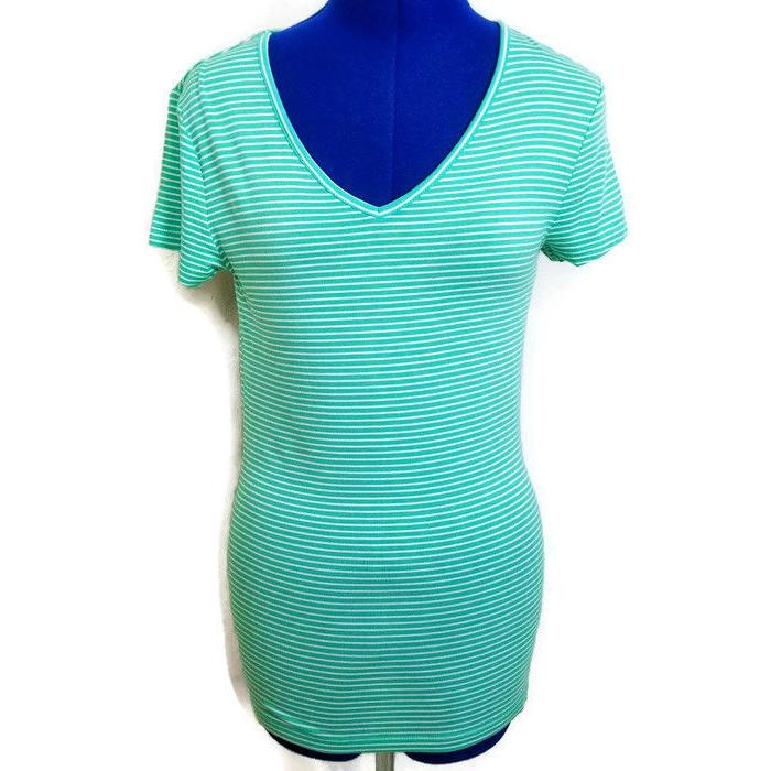 Zenana Outfitters T-Shirt Womens M Blue Striped V-Neck Short