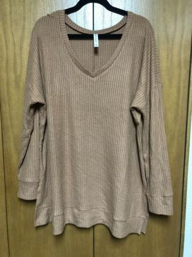 Zenana Outfitters Top Long V Neck Waffle Thermal NEW