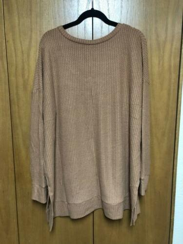 Zenana Outfitters Top 1xl Long Waffle Thermal Top