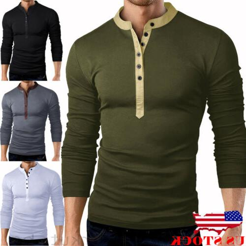 US Mens Slim Fit V Long Muscle Tee T-shirt