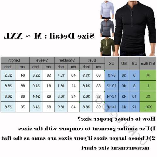 US Slim V Sleeve Muscle Tops Henley Shirts