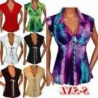 US Summer Women V-Neck Lace Up T-Shirt Casual Sleeveless Top