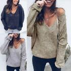 US Women Casual Loose Sweater Blouse Shirts V Neck Long Slee
