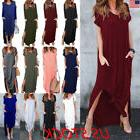 US Women Casual Split V Neck Loose Pocket T-Shirt Long Maxi