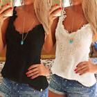 US Women Summer Lace Crop Top V Neck Camisole Sleeveless Tan