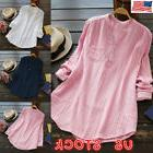 US Women Summer V-Neck Long Sleeve Tunic T-shirt Blouse Tee