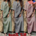 US Women Tunic Plus Size Kaftan V Neck Cotton Linen Loose Ma
