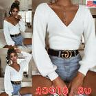 US Womens Knit Wrap V Neck Crop Top Casual Long Sleeve Pullo