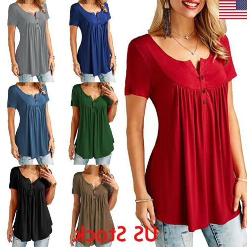 US Womens Plain V Neck Ladies Short Sleeve Boyfriend Shirt D