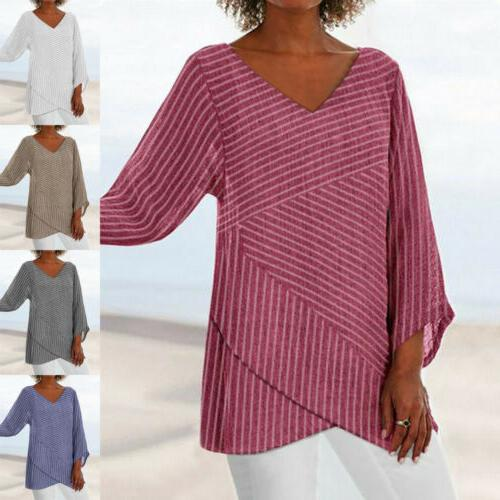 US Womens Neck Baggy Tops Tunic T Shirts Plus