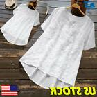 US Womens V Neck Full Lace Loose Casual Summer Holiday White