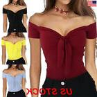 USA Womens Off The Shoulder Bow Tie Tops Ladies V Neck Sexy