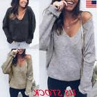 USA Womens V Neck Long Sleeve Knit Sweater Ladies Tops Pullo
