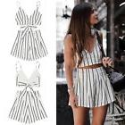 women 2 piece outfit summer striped sleeveless