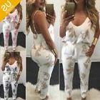 Women 2 Piece Floral Outfit Spaghetti Strap Top Paper Pants