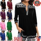 Women 3/4 Sleeve V-neck T Shirt Casual Tunic Tops Blouse Pul