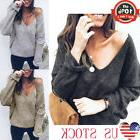 Women Casual V-Neck Knit Sweater Long Sleeve Loose Jumper To
