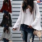 Women Casual V-Neck Knitted Sweater Bell Long Sleeve Loose J