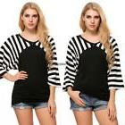 Women Casual V-Neck Raglan 3/4 Sleeve Patchwork Striped Tops