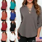 Women Chiffon V-neck Top Long Sleeve Shirt Casual Blouse Loo
