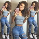 Women High Waisted Ripped Skinny JEANS Jeggings Casual Stret