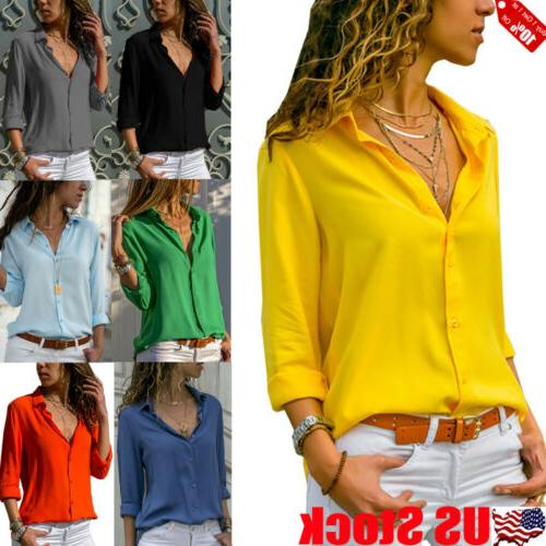 Women Long Sleeve V-neck Loose Tops T Shirt OL Ladies Plain