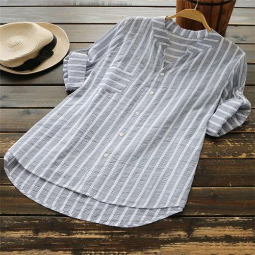 Womens Striped V Neck Tops Tunic Shirts Plus