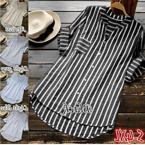 Womens Striped V Neck Blouses Loose Tops T