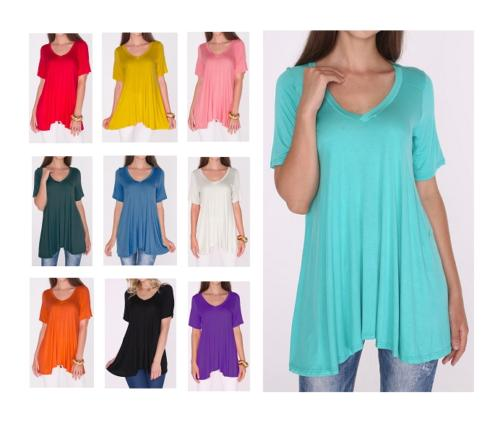 Women's A-Line V-Neck Loose Short Sleeve Tunic Top T-Shirt B