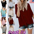 Women's Casual V Neck Tie Knot T-Shirt Button Down Short Sle
