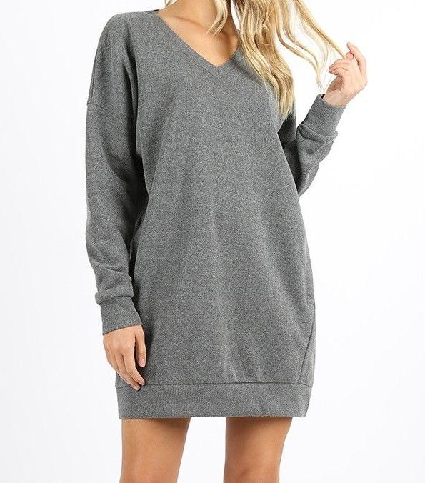 women s grey oversized long sleeve v
