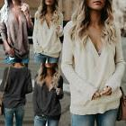 Women's Knitted Deep V-Neck Long Sleeve Wrap Front Loose Swe