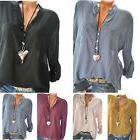 Women's Long Sleeve V Neck Tops Blouse Laides Loose Casual T