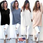 Women's Loose Knitted Pullover Jumper Sweater V Neck Long Sl