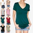 TheMogan Women's Short Sleeve V-Neck Pocket T-Shirts Loose F