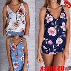 Women's Sleeveless Zip Up V Neck Floral Vest Tops Casual Loo