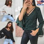 Women's Summer V Neck Long Sleeve Blouse Ladies Casual Loose