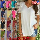 Women's V-Neck Loose Short Sleeve Tunic Top Lady A-Line T-Sh