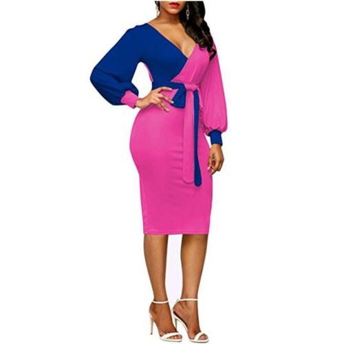 Women Sexy V-neck Long Sleeve Patchwork Color Bodycon Party
