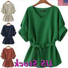 Women V Neck Linen Blouse Tunic Shirt Big Bow Tie Loose Batw