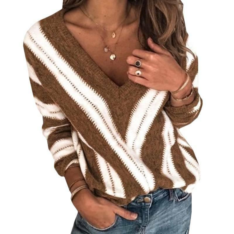 Women Color V Neck Long Sweater Casual Jumper Tops